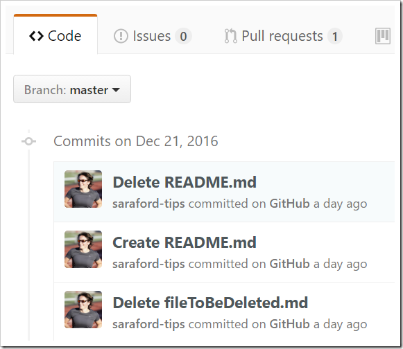 List of all commits for master branch