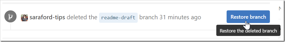 Restore the delete branch button on closed pull request