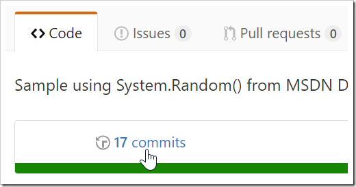 Commits link being clicked on Code page