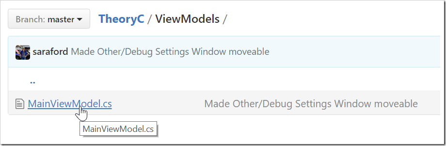 MainViewModel.cs shown listed in the ViewModels folder