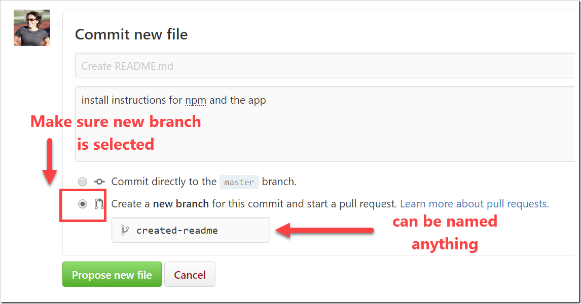 Create a new branch selected in commit form