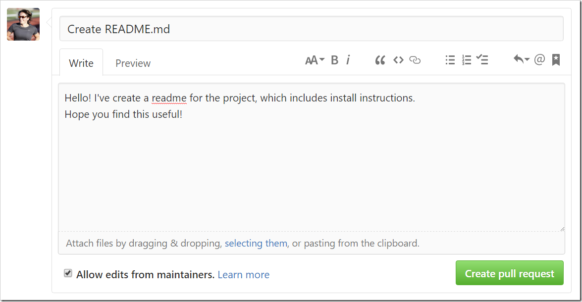 Open Pull Request form filled out like an email introduction