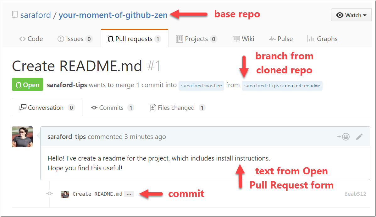 Pull Request #1 listed in base repo