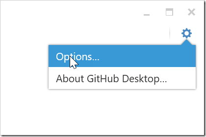 GitHub Desktop options button