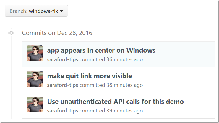 windows-fix branch showing the 3 commits