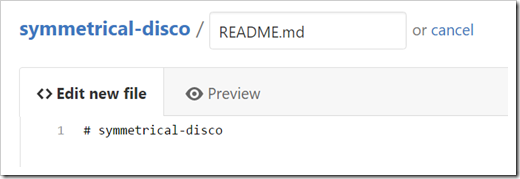 new README.md file in edit mode