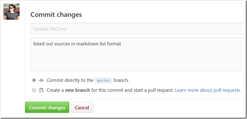 Commit changes using default message but custom extended commit message