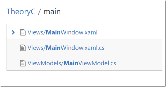 File finder only showing files containing main as partial match
