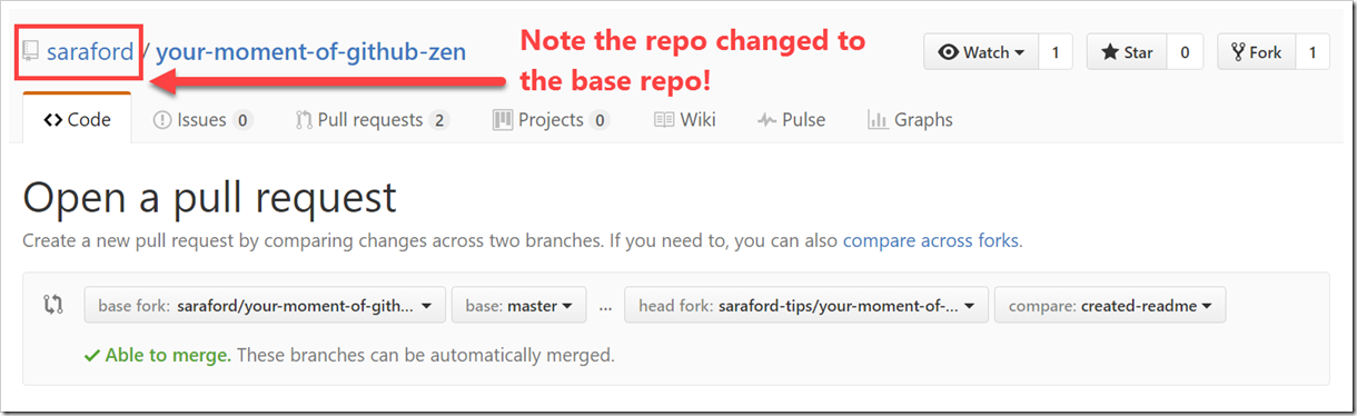 Pull Request form showing merging created-readme branch into base fork master branch