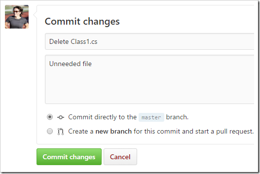Delete Class1.cs commit changes form