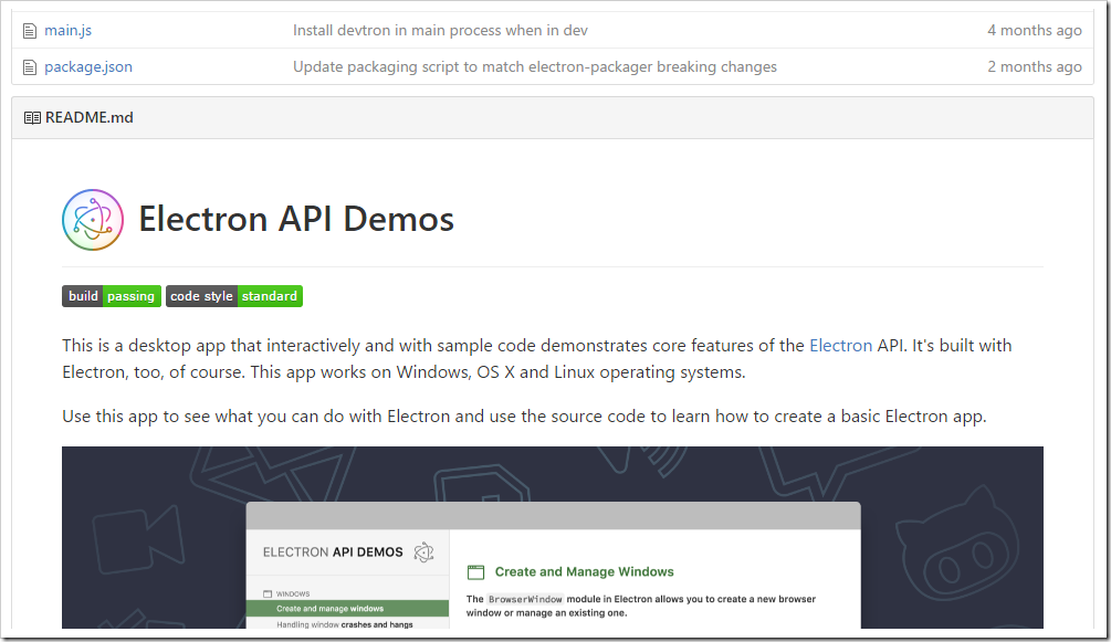 readme file for electron/electron-api-demos shown at bottom of GitHub repo