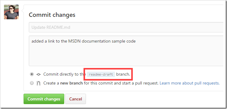 Commit changes either on readme-draft or new branch off of readme-draft
