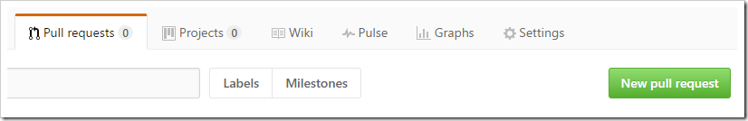 New Pull Request button on Pull Request tab
