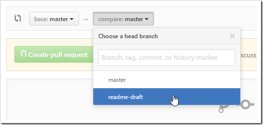 compare: master dropdown button switching to readme-draft