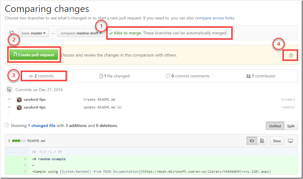 Comparing changes page of a Pull Request