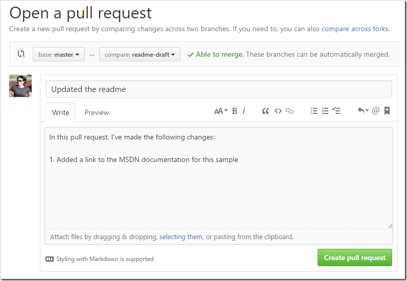 Open a pull request form page