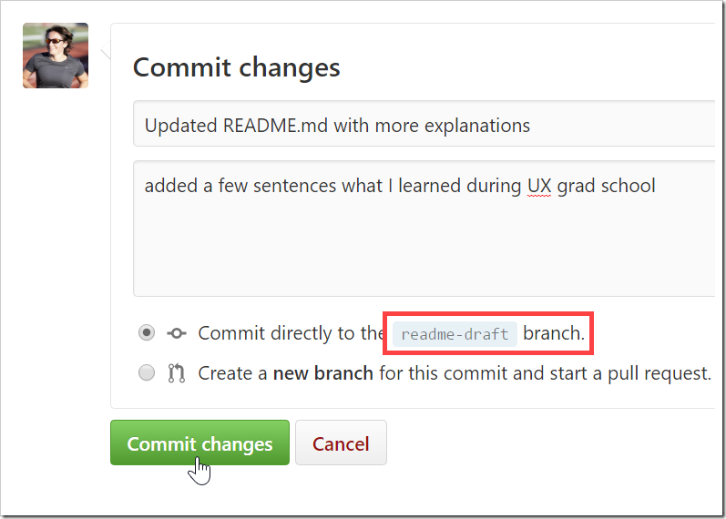 Commit changes form for committing to readme-draft