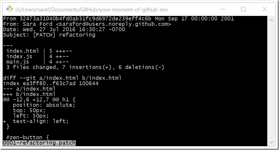 showing generated patch file from command line