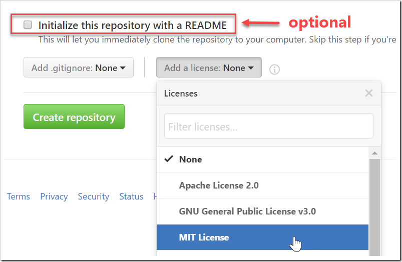 adding MIT License without the Initialize this repo with a README checked