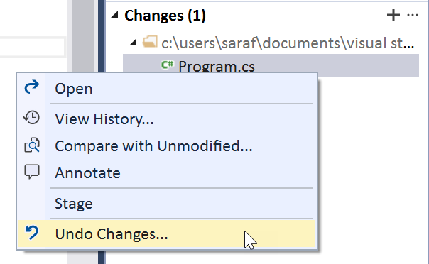 How to undo all the changes to a specific file in your