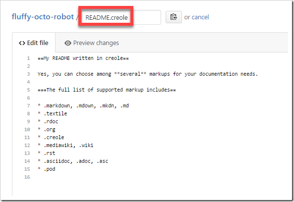 repo README written in Creole