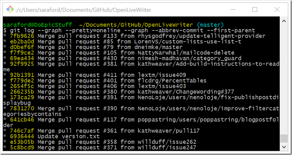 git log --graph --pretty=oneline --graph --abbrev-commit --first-parent