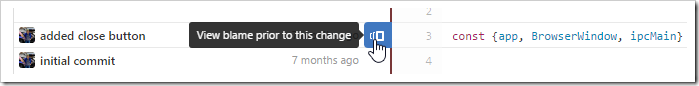 "View blame prior to this change for ""added close button"""