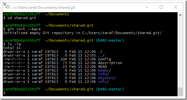 command prompt showing creating and viewing contents of a bare git repo