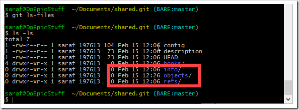 command prompt exploring contents of shared.git