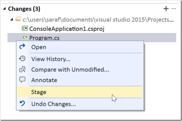 How to stage changes in Visual Studio in separate files