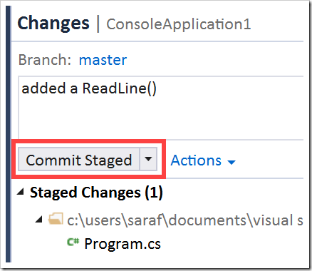 Commit Staged button