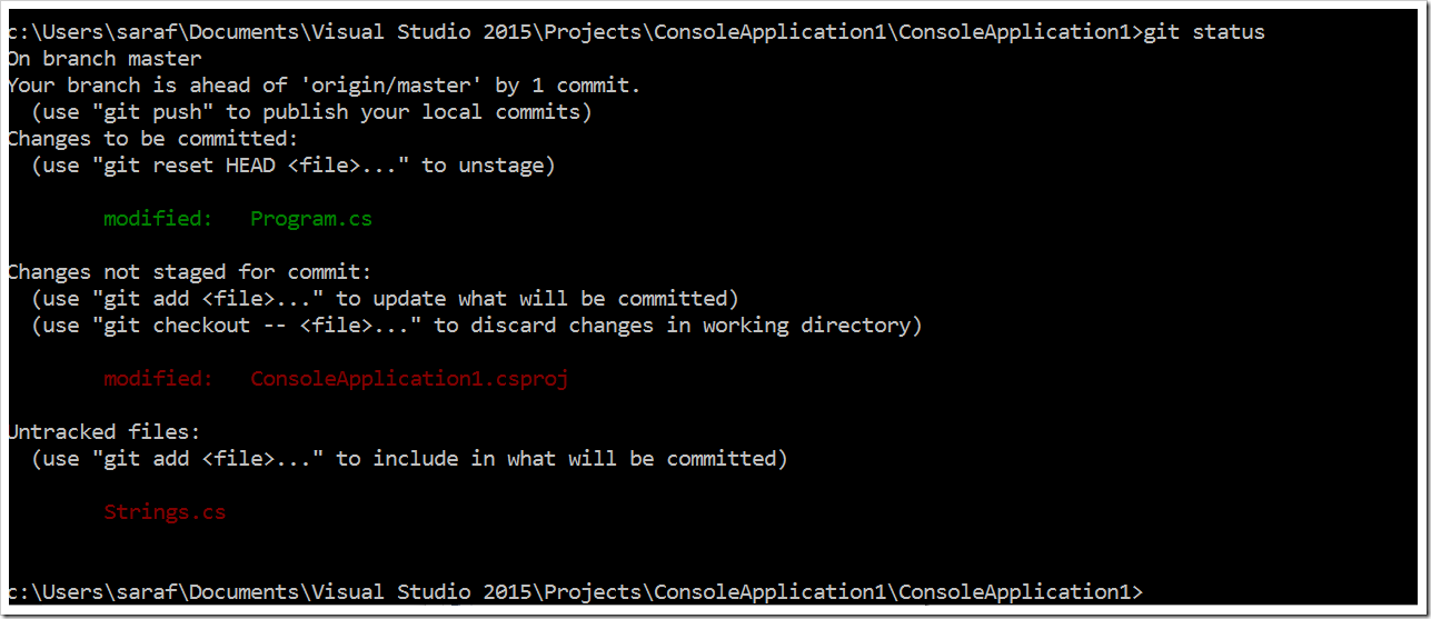 git status via command prompt confirming Program.cs staged