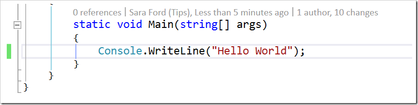 "only Console.WriteLine(""Hello World"") showing"