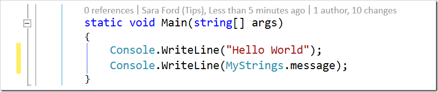 added Console.WriteLine(MyStrings.message);