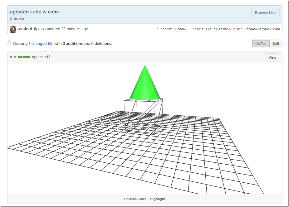 green cone on top of wireframe cube
