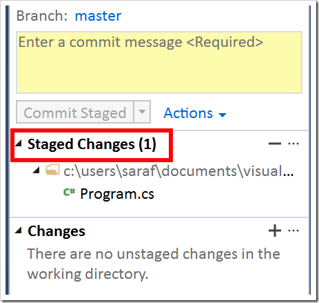 Staged Changes (1) in TE