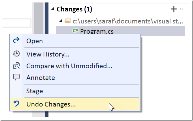 Undo Changes command in TE