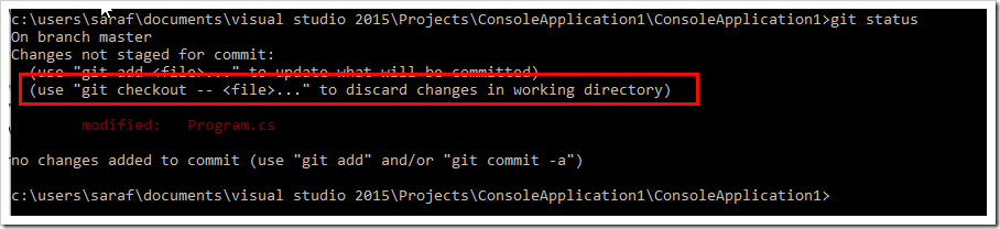 git status showing how to revert or undo changes to file in working directory