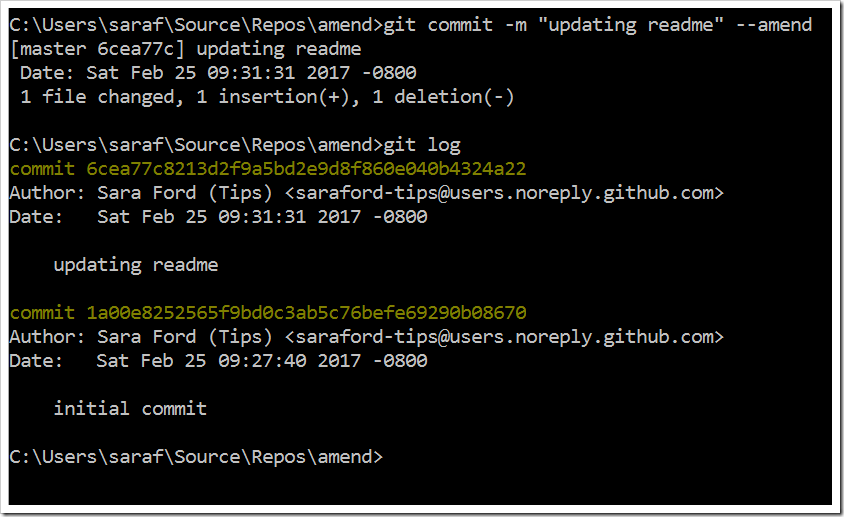"git commit -m ""updating readme"" --amend updating last commit message"