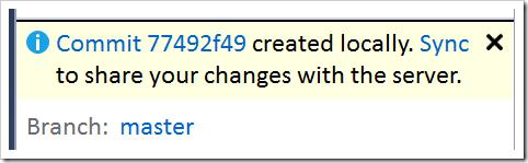 new commit ID shown in TE info bar