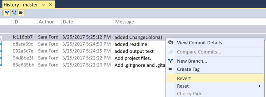 How to revert changes in Visual Studio – 085 – Sara Ford's Blog