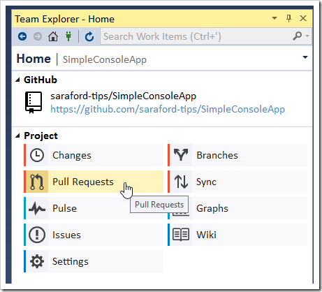 Team Explorer - Home - Pull Requests button being clicked