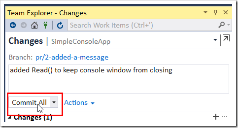 Team Explorer - Changes showing the commit for the Read()