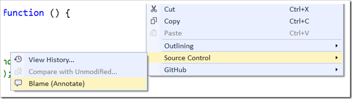 Source Control - Blame (Annotate) in context menu for file