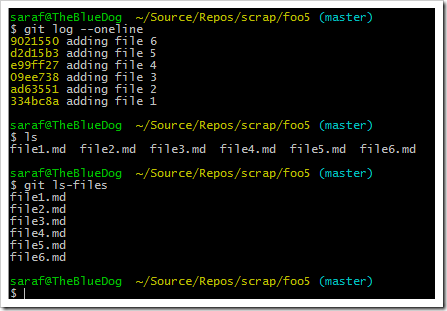 git reset --hard commitID showing files 5 and 6 come back