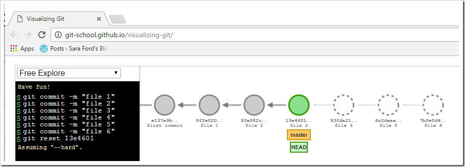 git visualization showing head and master at file 3