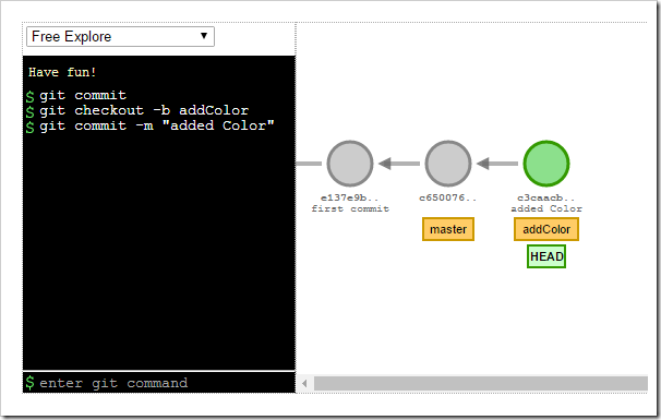 git commit, checkout -b addColor, commit visualization