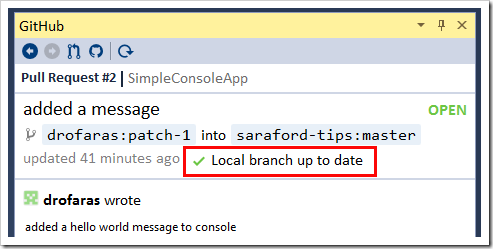 Local branch up to date message shown