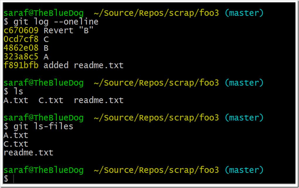 git log, ls, and git ls-files not showing B.txt