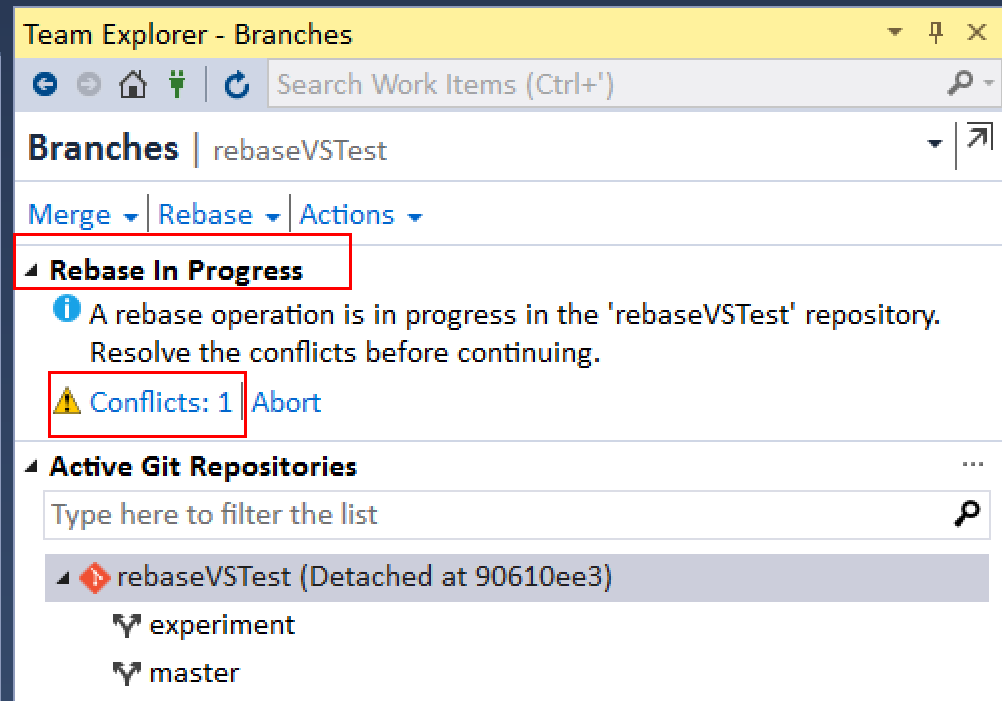 How to resolve a conflict during a rebase in Visual Studio